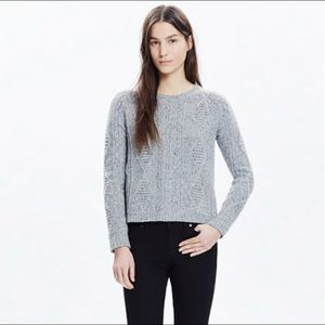 Madewell Back Zip Palisade Cableknit Sweater